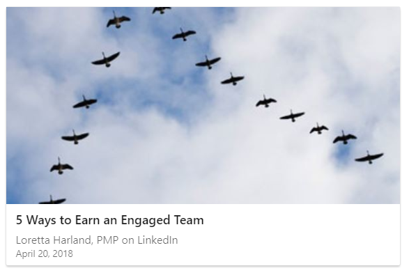 Linked In article - engaged team